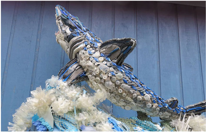 Washed Ashore Project's mako shark sculpture, made entirely out of plastic marine debris, will be on display at ICAST as part of Costa's Kick Plastic efforts.